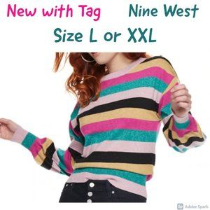 🌹$15ifbundle2 NWT Nine West balloon sleeve top L